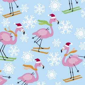 Skiing Flamingos